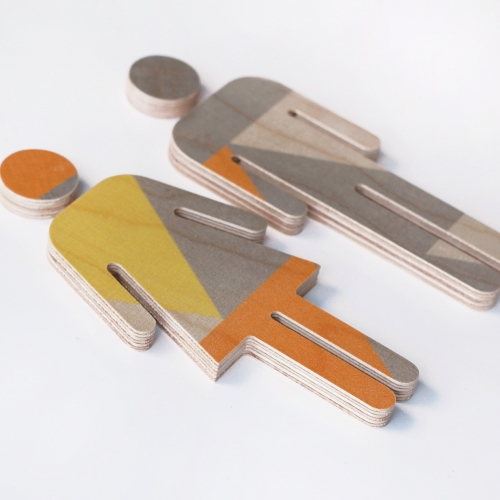 Plywood regular in yellow orange grey print mooza designs for Orange and grey bathroom accessories